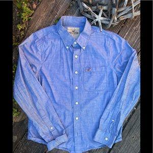Sz L Hollister Denim color button down shirt